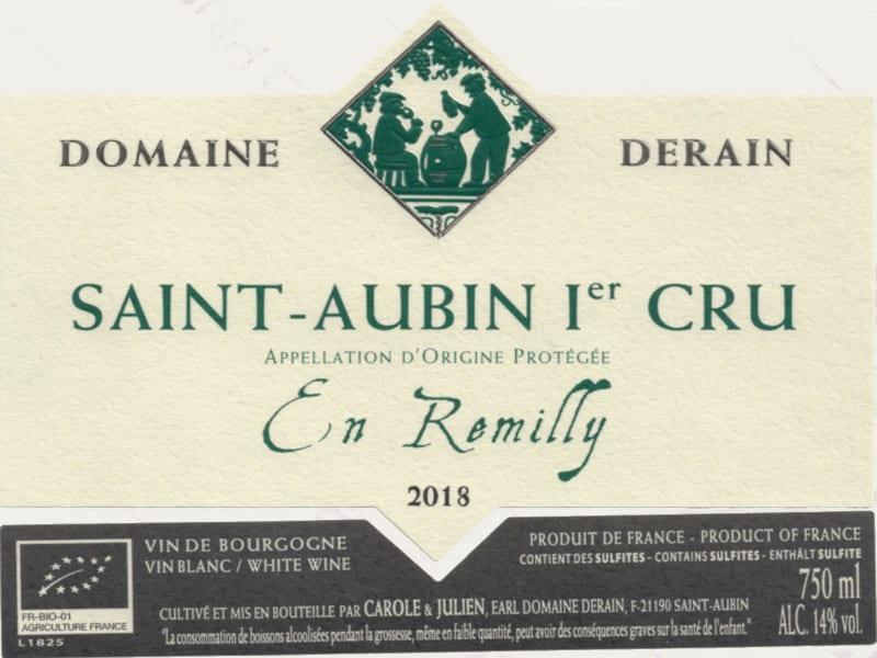 Saint-Aubin en Remilly blanc 2018 du domaine Dominique Derain