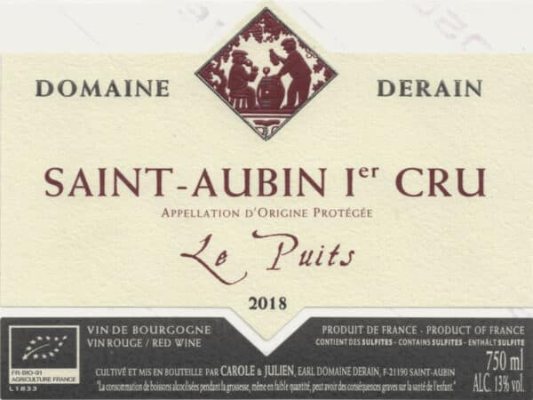 Saint-Aubin Le Puits rouge 2018 du domaine Dominique Derain